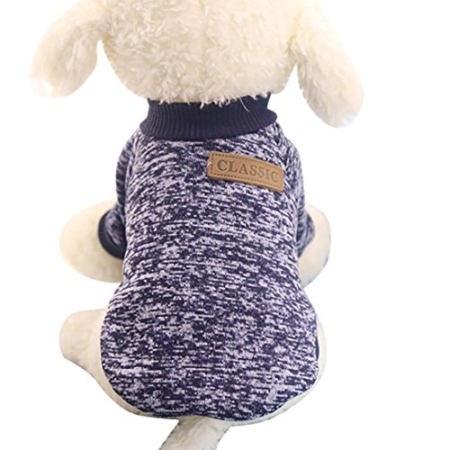 Mikey Store Pet Dog Clothes Soft Thickening Warm Stripe Polar Fleece Winter Clothes (Navy, L) ()