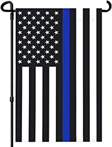 FRF Police Garden Flags Thin Blue Line Flag American 12.5×18 inch Outdoor Double Sided Banner Black White and Blue Yard Stripe Vivid Color