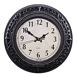 Foxtop 12 Inch Silent Non-ticking Wall Clock Vintage Retro Antique Royal Style Resin Wall Clock, Creative Home Living Room Boutique Mute Wall Clocks (Bronze)