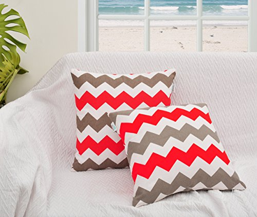 - Throw Pillow Cover for Couch of 16 X 16 Inches Multi Color Red and Grey Chevron Stripe Printed on White Base Fabric. Cushion Cases Made of 100% Cotton Fabric (1, Red and Grey)