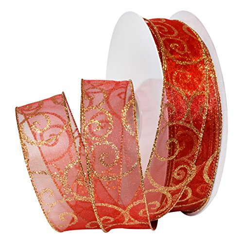 Morex Ribbon Swirl Wired Sheer Glitter Ribbon 1-1/2 inch by 50 Yards, Red/Gold