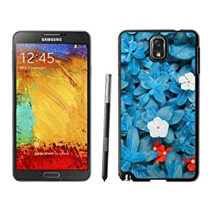 Element Samsung Galaxy Note 3 Case Beautiful Blue Flower Soft TPU Black Phone Back Cover