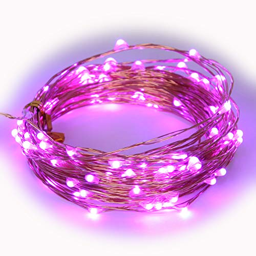 BLUDRO Purple LED String Lights USB Plug Solid ON Mode 33Ft 100 LED Fairy Decorative Lighting Valentine Day Spring Festival Holiday Thanksgiving Home Decoration for $<!--$10.99-->