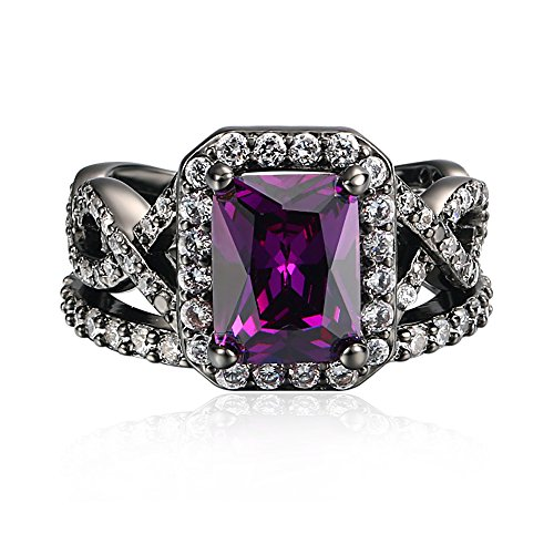 ent Ring for Her Purple Stone Wedding Band for Women Black Gold Plated Princess Cut CZ Rings for Lady Girl, Best Christmas Jewelry Gift, ZY Double Rings , JR480-7 (Ladies Wedding Band)