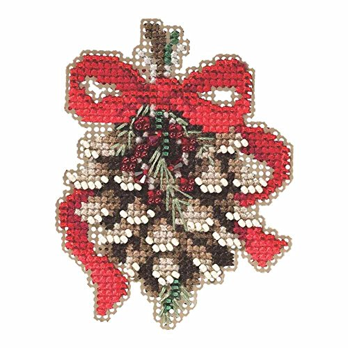 Pinecone Beaded Counted Cross Stitch Holiday Ornament Kit Mi