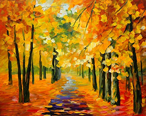 Framed Iii Canvas ([ Wooden Framed ] DIY Oil Painting Paint by Number Kit for Adults Kids Romantic Love Autumn (3) 16x20 Inch)
