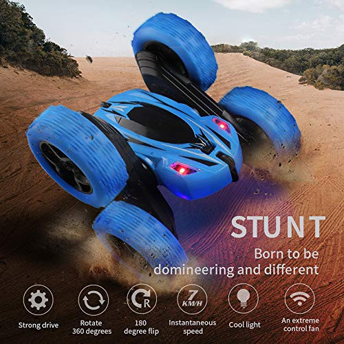 Remote Control Car, 4WD RC Stunt Car Rotate 360 Double Sided Race RC Car Electric Stunt Rock Crawler Unstoppable RTR Buggy High Speed Rc Trucks (Blue) ()