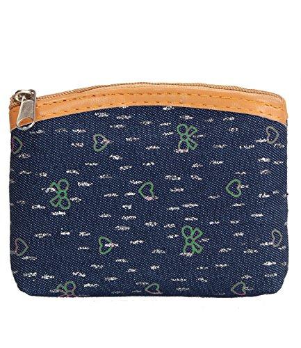 caripe Portemonnaie Geldbörse Damen Mädchen klein Reißverschluss Münzbörse Anker Eule UK Muster einfarbig - po small - Jeans-Herz grün