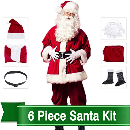 Christmas Santa Claus Costumes Plush Men's Pub Flannel Crawl Santa Suit Xmas Suit Dark Red (Dark Red) -