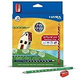 24 Lyra Groove Slim Coloured Pencils Inc Sharpener - Triangular - School Art by a2bsales