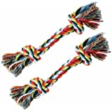 Set of 2 Cotton Dog Rope Toys - Great for Tug-o-war or Fetch!