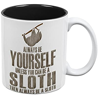 Always Be Yourself Sloth All Over Coffee Mug White-Black Standard One Size -