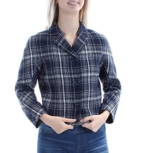 Plaid Cropped Jacket - Tommy Hilfiger Cropped Plaid Women's Three-Button Jacket Blue 0