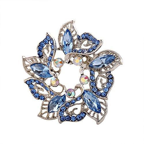 Hosaire 1X Fashion Elegant Diamond Wreath Wedding Bridal Brooch Pin Rhinestone Covered Scarves Shawl Clip For women's Ladies Jewelry(Blue)