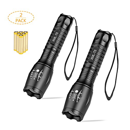 Winzwon Handheld Flashlights Led Tactical Flashlight Super Bright LED Flash light with 5 Light Modes and Zoomable Function and Waterproof Resistance (Incl 6 AAA batteries)