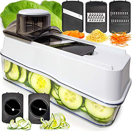 Fullstar Mandoline Slicer Spiralizer Vegetable Slicer - 5 in 1 Veggie Slicer Mandoline Food Slicer with Julienne Grater - V Slicer Mandoline Cutter - Vegetable Cutter Zoodle Maker
