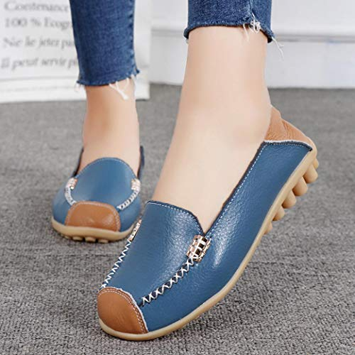Boat Shoes Peas Casual Slip Outdoor Soft Comfortable Flat FALAIDUO Women Light Bottom Blue Shoes On g7xwIqU