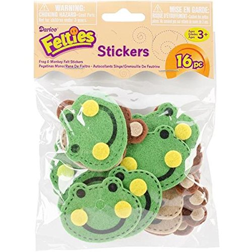 Darice FLT-1028 16Piece, Felties Felt Stickers, Stitched Frogs & Monkeys