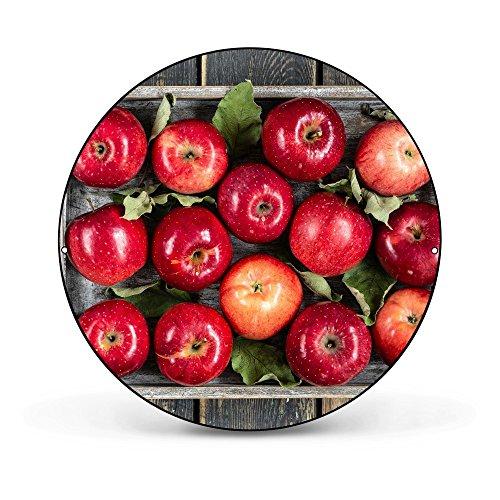 banjado - runde Magnettafel Pinnwand aus Stahl schwarz oder weiß lackiert 47cm Ø mit Motiv Rote Äpfel, Magnettafel rund schwarz