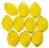 Juvale Fake Fruit Lemons - 10 Piece Artificial Fruit Decorations, Fake fruit decoration for Still Life Paintings, Storefront, Kitchen Décor, Yellow, 3.7 x 2.5 Inches