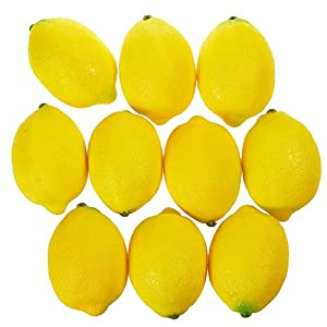 Juvale Fake Fruit Lemons - 10 Piece Artificial Fruit Decorations, Fake Fruit Decoration Still Life Paintings, Storefront, Kitchen Decor, Yellow, 3.7 x 2.5 inches 30