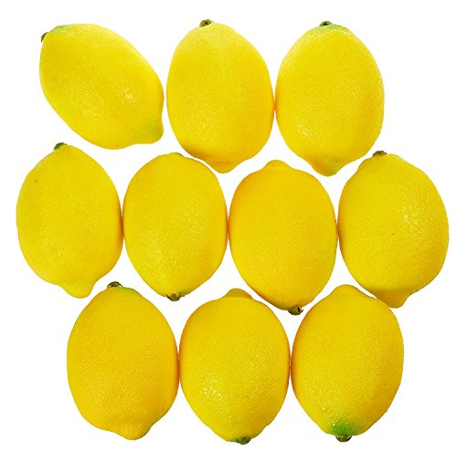 Juvale Fake Fruit Lemons - 10 Piece Artificial Fruit Decorations, Fake fruit decoration for Still Life Paintings, Storefront, Kitchen Décor, Yellow, 3.7 x 2.5 Inches by Juvale