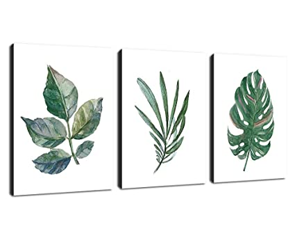 Canvas Wall Art Green Leaf Simple Life Painting 12 X 16 X 3 Pieces Framed Canvas Pictures Watercolor Prints Contemporary Canvas Artwork Ready To