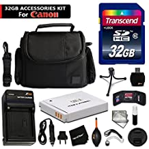 32GB Accessory Kit for Canon Powershot SX540 HS, SX530, SX520, SX710, SX610, SX600, SX170 Digital Cameras includes 32GB High-Speed Memory Card + Replacement NB-6L Battery / Charger + Fitted Case +MORE