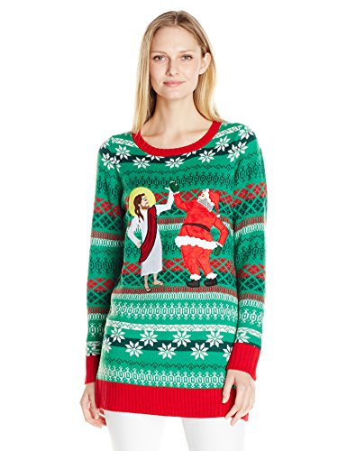 Blizzard Bay Women's Santa and Jesus Bff's Ugly Christmas Sweater Tunic, Green/Red, S (Jesus Ugly Sweater)