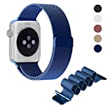 Dreams Mall(TM)New Hot Style Milanese Stainless Steel Bracelet Metal Loop Wrist Strap Band Replacement for Apple Watch Iwatch Sport&Edition 42mm,Sapphire Blue
