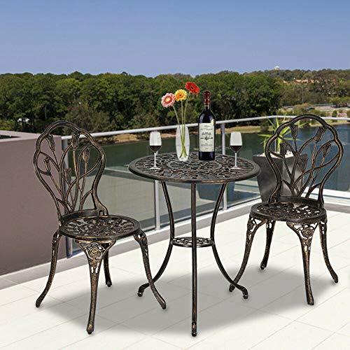 Rungfa 3PCS Cast Aluminum Outdoor 3 Piece Tulip Bistro Set of Table & ()