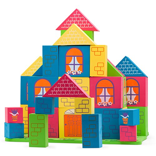 Morvat 60 Piece Soft Foam Building Block Set - House Design with Floating Base + Tote & Mesh Bags - Printed Educational Stacking Blocks - Non-Toxic & BPA Free - Great Learning Toy for All Children ()