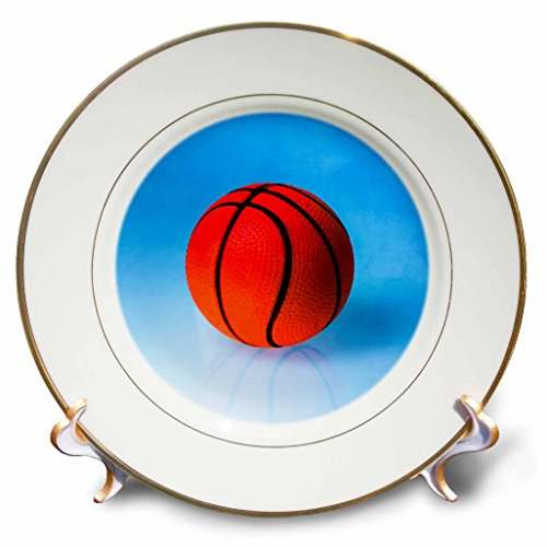 3dRose Alexis Photography - Objects - Orange toy basketball ball on blue background - 8 inch Porcelain Plate (cp_270378_1)