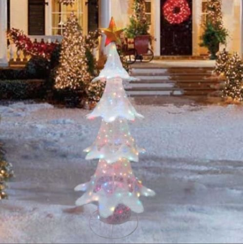6 Foot Color Changing White Outdoor Christmas Tree Sculpture Yard Lawn Garden Decoration by Home Improvements