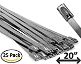 20'' Stainless Steel Cable Ties - 25 pieces