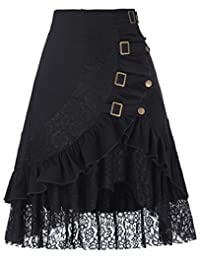 Belle Poque Women's Steampunk Gothic Vintage Victorian Gypsy Hippie Lace Party Skirt BP000205