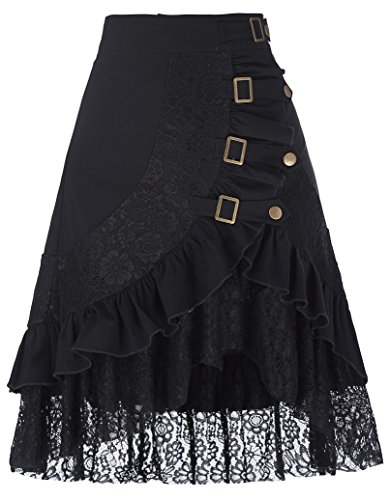 Women's Steampunk Gothic Vintage Cotton Black Lace Gypsy Hippie Skirt BP205-1 L]()