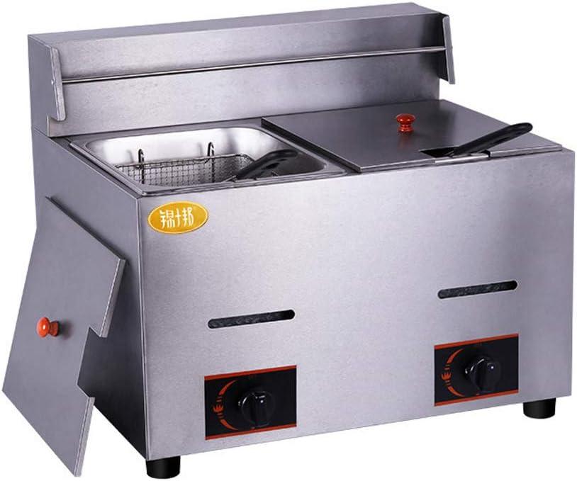 D@ Freidora de gas de gran capacidad 11L Freidora Industrial Acero Inoxidable para Patatas Fritas Deep Fryer Commercial (Plata): Amazon.es: Hogar