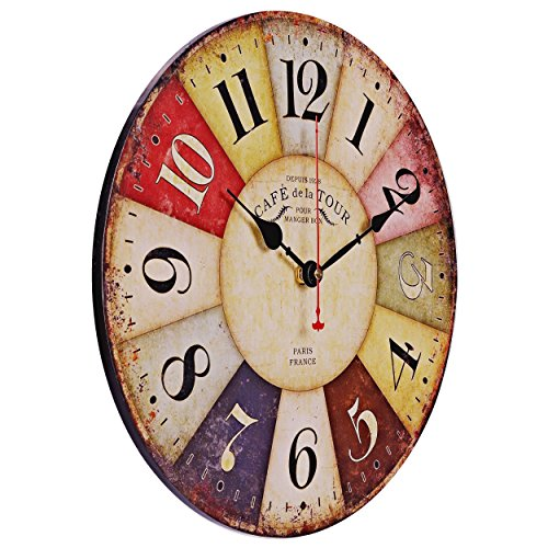 Old Oak Large Decorative Wall Clock Vintage Silent Non-Ticking Battery Operated Colorful Wooden Round for Living Room Kitchen Bathroom Bedroom Wall Decor with Big Arabic Numerals 14-Inch Review