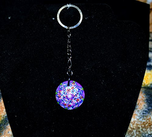 Hand Painted Small Glass Purple Keychain With Natural Wooden ()