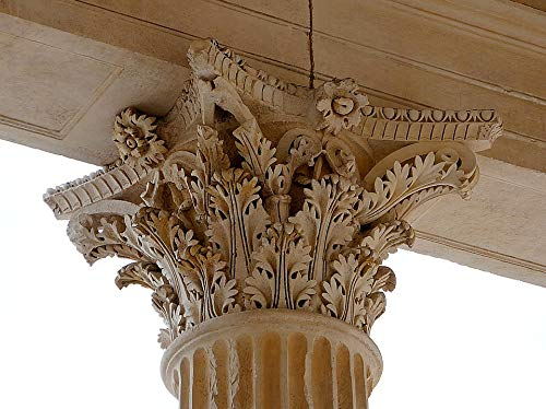 Home Comforts Canvas Print Maison Caree Column Nimes Roman Corinthian Capital Vivid Imagery Stretched Canvas 32 x 24