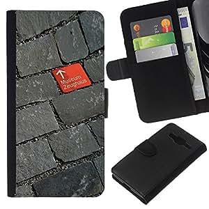 Stuss Case / Funda Carcasa PU de Cuero - Adoquinado Rojo Gris Design Museum - Samsung Galaxy Core Prime