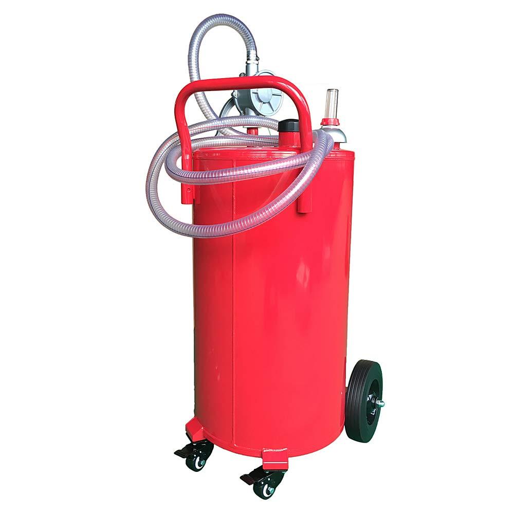 TRIL GEAR 35 Gallon Gas Fuel Diesel Caddy Transfer Portable Storage Tank w/Pump Hose Red by TRIL GEAR
