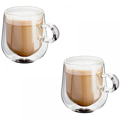 8bfa12dd0bf Judge Hand Crafted Double Walled Set of 2 275ml Glass Latte Coffee Cup