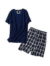 ENJOYNIGHT Men's Summer Short Sleeve Pajamas Adult Casual Shorts & Shirt PJ Set