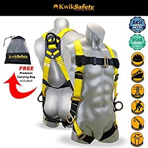 KwikSafety THUNDER 3D Deluxe Fall Protection Body Safety Harness | OSHA Approved ANSI Compliant Industrial Roofing Tool Personal Protection Equipment | Construction Carpenter Scaffolding Contractor