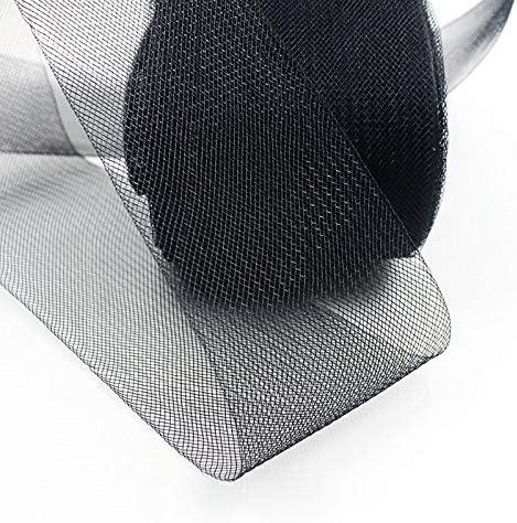 Fenteer Stiff Polyester Crinoline Horsehair Braid 25 yards 6 inch Wide Black /& White