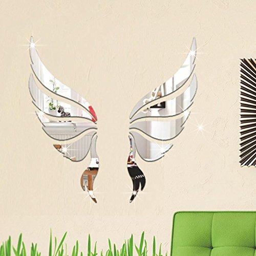 Pegatinas de acrílico 3D para pared, espejo, alas de ángel, pegatinas para recámara de niños, sala de estar, hogar,...