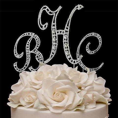 RaeBella Weddings COMBO Silver Vintage Style Swarovski Crystal 3 Letter Monogram Wedding Cake Topper + White Metal LOVE Design Small Photo - Swarovski Crystal Wedding Cake