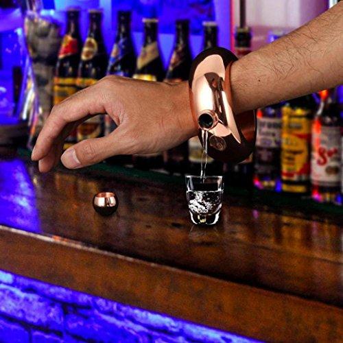 DDLBiz Unique Design 3.5oz Stainless Steel Jug Bracelet Alcohol Hip Flask Funnel Bangle Bracelet (Gold) (Flask Hip Design)